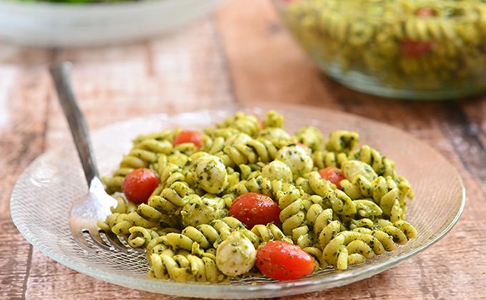 Bill Telepan's Pasta with Dairy & Nut Free Pesto & Marinated Cherry Tomatoes